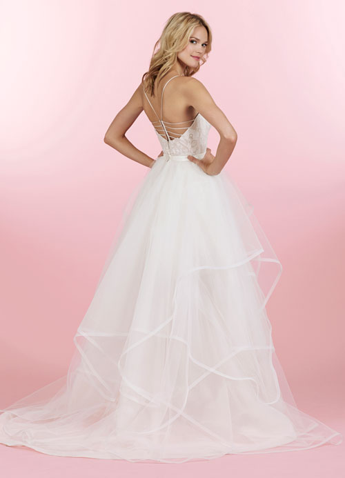 v neck fit and flare wedding dress with natural