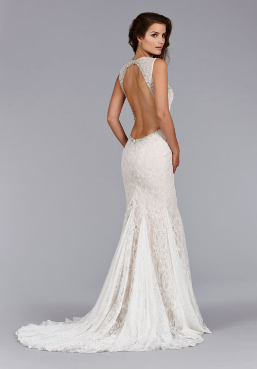 Bridal gowns wedding dresses by jim hjelm style jh8453 for Fitted lace wedding dress with open back