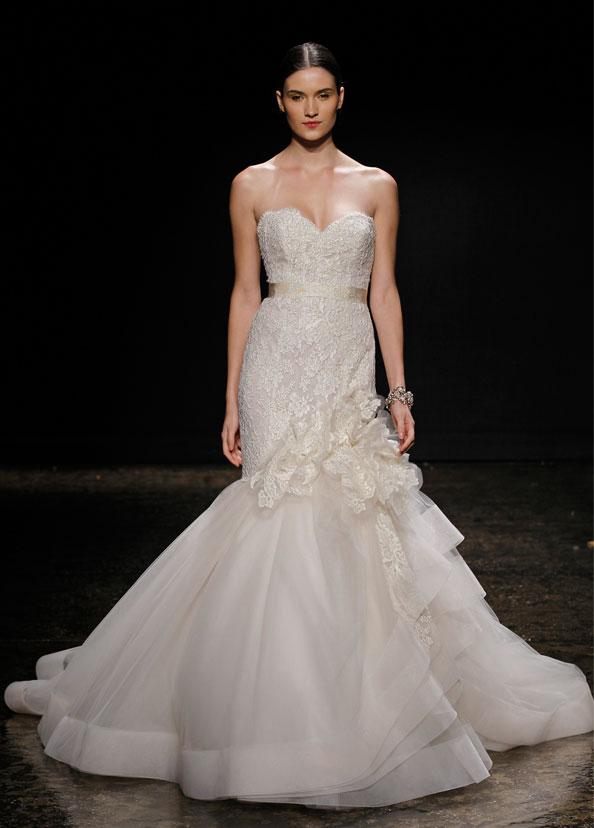 Bridal gowns wedding dresses by lazaro style lz3415 for Lazaro lace wedding dress