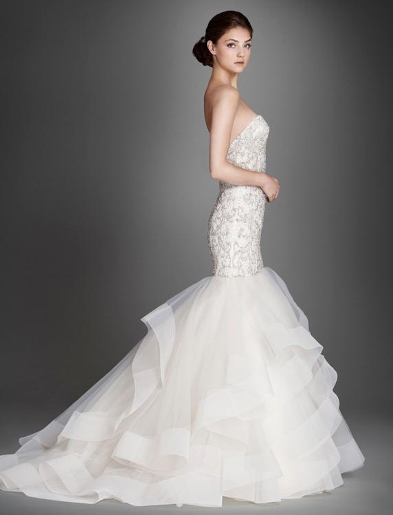 Back view for Lazaro wedding dress price range